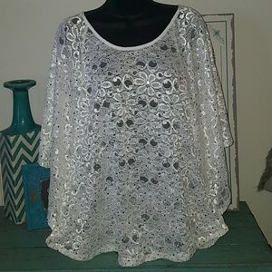 New Directions L Ivory Crystals Lace Top